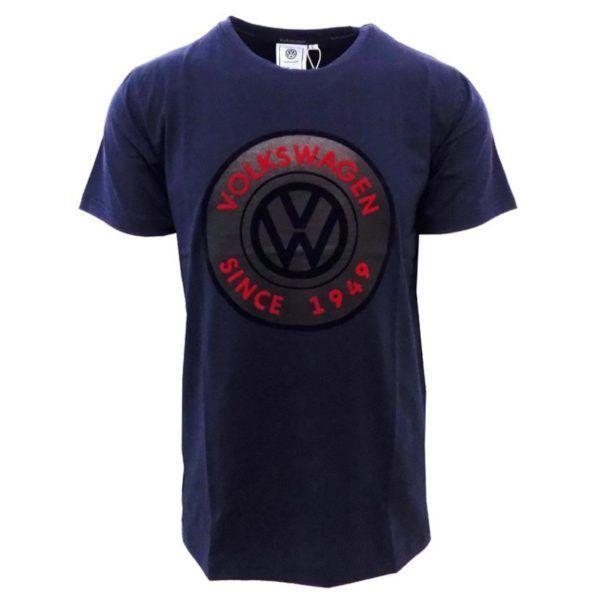 volkswagen chest logo print tshirt navy vw49n a52