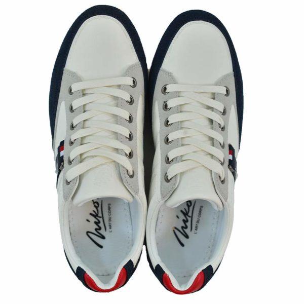 KOS921W Nikos Casual Shoes White Navy Red NKS20 301F V4