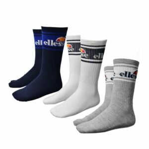 ELL1169BL ELLESSE 3 PACK MENS CREW SOCKS WITH FEATURE BLUE WHITE GREY V5